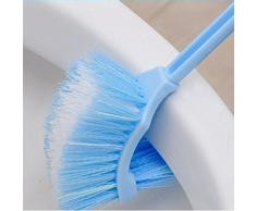 Lavabo Spazzola portatile in plastica, manico bagno WC doppio Scrub spazzola per la pulizia blu