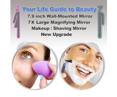 21cm Specchio Doccia 7X Ingrandimento Specchi per Radersi Grande Specchi da parete Ingranditore da Trucco con Potente Ventosa, Specchi da bagno