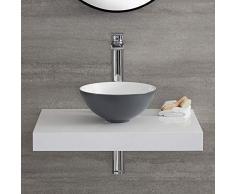 Hudson Reed Witton Lavabo Bagno da Appoggio Rotondo - Ceramica Grigia e Bianca - Design Moderno Sorapiano - 280 x 280 x 120mm