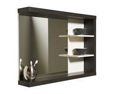 Trendteam Specchio parete del bagno, Piastra di tensione, Bianco e Argento Fumo Imitazione