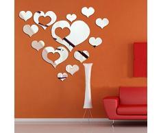 Walplus - Specchi decorativi da parete, a forma di cuori romantici, colore argento