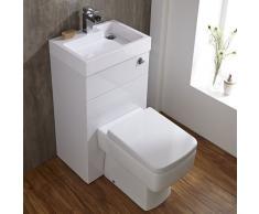 Hudson Reed - Set Bagno Moderno Mobiletto Quadrato con Lavabo e Sanitario WC Integrato con Sedile Coprivaso (Resina & Ceramica, Scarico Duale, Salva Spazio)