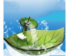 FFJTS Lavabo a forma di foglia di arca verde - Lavabo da bagno in vetro (lavabo singolo)