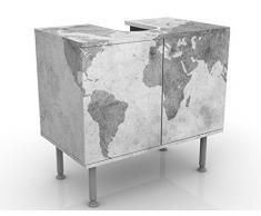 Mobile per lavabo design Vintage Worldmap II 60x55x35cm, basso, Larghezza: 60cm, regolabile, mobiletto da lavandino, lavandino, mobiletto da lavabo, lavabo, mobiletto, bagno, bagnetto, mobile da bagno
