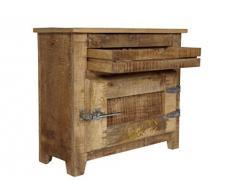 """SIT-Möbel 2501-01 - Armadietto pensile """"Frigo"""", 70 x 30 x 60 cm, in legno di mango massiccio, con maniglie da frigorifero, laccatura naturale"""