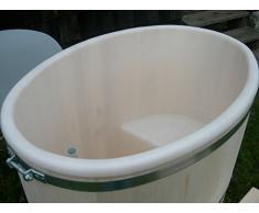 Sauna immersioni bacino in legno certificato PEFC Larice con inserti in plastica e coperchio in plastica