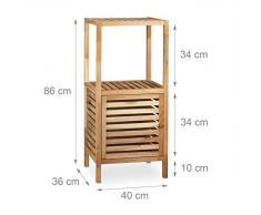 Relaxdays Mobile da bagno, Scaffale da bagno in legno con anta, 3 ripiani, armadio, HxLxP 86x40x36 cm, colore legno naturale