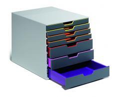 Durable 760727 Cassettiera da Scrivania con 7 Cassetti Dotati di Profilo Colorato, Multicolore