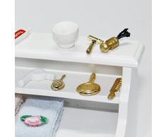 Ivebetter 1/12 bianco scala casa delle bambole mobili armadietto da bagno WC