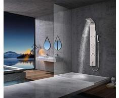 Elbe Colonna Doccia Termostatica in Acciaio inox 304 e Ottone, design luxury Pannello Doccia multifunzionale con 4 modalità doccia 6 idrogetti doccia massaggianti