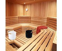 Lussuoso Kit per Sauna Finlandese - Secchio per Sauna da 7 Litri con Cucchiaio per Mestolo Lungo per Bagno Turco, Accessorio per Doccia Essenziale in Alluminio Durevole- Set Classico per Sauna