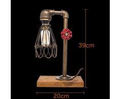 WSQ Lampada da tavolo industriale retrò a tubo dacqua, Edison Steampunk Lampada da tavolo tubazioni dacqua di ferro nostalgico Luce depoca classica depoca, E27 Vasca da bagno vi