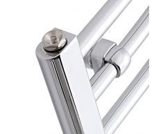 Hudson Reed Eco Scaldasalviette Piatto Moderno di Design Verticale - Termoarredo Bagno Contemporaneo a Scaletta - Acciaio al Carbonio Cromato - 357W - 1200 x 400mm