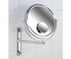 Wenko Bivona 3656370100 Specchio da trucco da parete, braccio orientabile