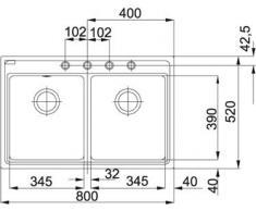 Franke Maris MRG 620 pietra grigio granito-lavandino a doppio bacino lavabo l'incasso lavandino