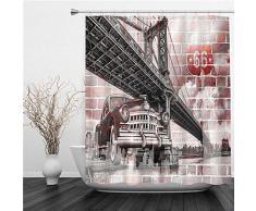 ZOMOY Tende Doccia Tessuto,Ponte di Brooklyn e Auto dEpoca e Muro di Mattoni per murale,Grande Tende Doccia Impermeabile E Lavabile,Tenda Vasca da Bagno con 12 Ganci Tenda Doccia