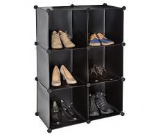 TecTake Scaffale armadietto modulare mobile scaffalatura mensola per scarpe bagno nero
