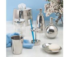 InterDesign Forma Dispenser Pompa di Sapone per Cucina/Bagno, Metallo, Argento, 9x9x19.75 cm