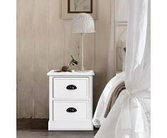 Rebecca Srl Comodino Mobile bagno Legno Bianco Stile Provenzale Camera da letto Casa (Cod. RE4556)