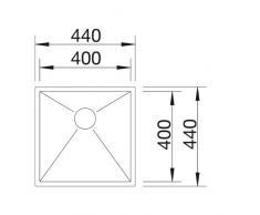 Blanco Zerox 400-U BF, Lavabo sottopiano, finitura in acciaio INOX spazzolato, sistema di scarico manuale per mobiletto da 45 cm, argento, 516993