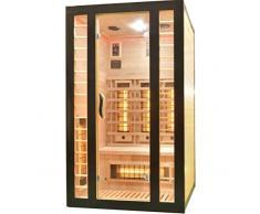 Cabina a infrarossi 120 x 105 x 195 cm per 2 persone in legno Hemlock | Dotato di 6 faretti a luce rossa (3 di cui regolabili) + 1 piastra riscaldante in magnesio | sauna a infrarossi con cromoterapia