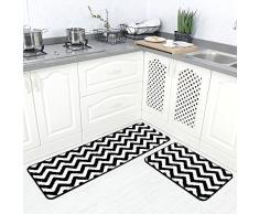 Carvapet 2 pezzi in microfibra chevron tappetino antiscivolo per cucina, bagno zerbino tappeto passatoia set – Nero