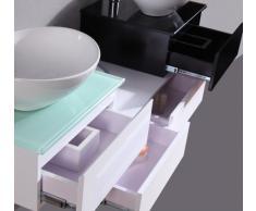 Mobile Arredo Bagno cm 150 sospeso bianco con lavabo d'appoggio con specchi Mobili
