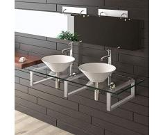Vetro trasparente e ceramica lavabo/Alpi Berger/Serie 100/vetro Mobili/Ceramica – Vetro Trasparente/lavabo/lavaggio tavoli per il tuo Esclusivo bagno bagno/Doppio lavabo/lavabo/lavabo in ceramica