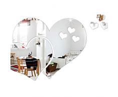 TXDIRECT specchi Adesivi da Parete Moderni Adesivi Specchio Non di Vetro Adesivi murali di Grandi Dimensioni Silver
