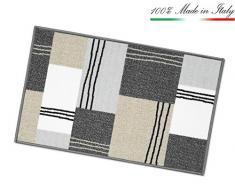 ARREDIAMOINSIEME-nelweb Tappeto Cucina Tessitura Piatta Retro Antiscivolo Moderno Quadri Multiuso Corridoio Bagno Camera MOD.FAKIRO38 57x240 Grigio (G)