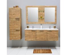Set di mobili da bagno con specchio lavabo mobiletto armadietto alto con lavabo in ceramica lavabo mobiletto bagno, doppia Set per bagno, premontato Beige