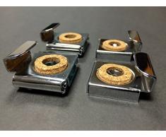 Reflex Sales and Marketing Ltd. - Kit di accessori per specchio da bagno senza cornice, per montaggio a parete, comprensivo di clip con meccanismo a molla, viti e tasselli a espansione, in metallo con effetto cromato