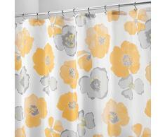 InterDesign Botanical Poly Tende per doccia in tessuto impermeabile, Tenda vasca da bagno in poliestere con delicato motivo floreale, giallo e grigio