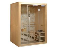 Sauna finlandese 150x120 per 3 persone con muro in marmo e stufa
