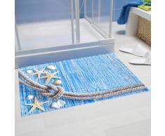Papillon Tappetino da Bagno Super Assorbente, in Poliestere, Motivo: Stella Marina su Legno Blu, Multicolore, 60 x 40 cm