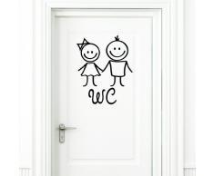"""Wandtattoo Loft """"WC Adesivo"""" Mann e Donna nero Adesivo per porta Stanza da bagno Toilette Targa porta Adesivi"""