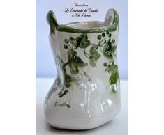Porta spazzolini Busta Porta spazzole Linea Edere h 15 cm Ceramica Handmade Le Ceramiche del Castello Made in Italy