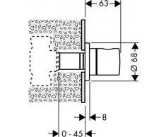 Hansgrohe 15972000, Set esterno per miscelatore monocomando vasca/doccia da incasso, con valvola di ritegno, cromato, manopola cilindrica