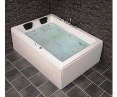 DOPPIO Whirlpool Vasca da bagno Olymp MADE IN GERMANY 190 x 140 cm mit 24 ugelli per massaggio + illuminazione LED / LUCE + RISCALDAMENTO + DISINFEZIONE OZONO + BALBOA / DHW + senza struttura ad
