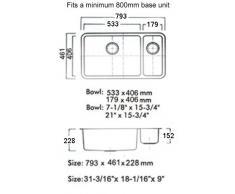 1,5 cucine da incasso lavandino con avanzi Vasca in acciaio inox spazzolato. 79,3 x 46,1 cm (D02L)