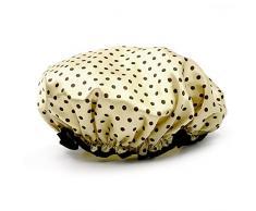 Vococal - Cappello di Doccia di Fascia Elastica Impermeabile Doppio Strato / Tappo Cuffia da Bagno Capelli EVA Polka Dot Pattern per Donne,Chiaro Marrone