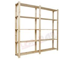 In legno B-02 5 ripiani libreria in legno massiccio scaffale Keller scaffale 170 x 30 cm ufficio