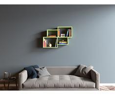 HOMIDEA Bend Mensola da Muro - Mensola Parete - Mensola Libreria - Scaffale pensile per Studio/Soggiorno in Design Moderno (Verde)