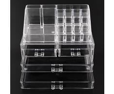 Amzdeal Cosmetic Organizer Mensola trucco cosmetologia negozio cosmetici Scaffalature di stoccaggio cassetto trucco Contenitori di monili (16 slot - acrilico trasparente)