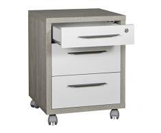 Cassettiera ufficio tre cassetti color rovere gessato e bianco laccato lucido