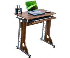 HJH Office Scrivania Tavolo Per Computer Smart Noce Argento Con Ripiano Scorrevole Per Tastiera