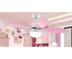 ♪ * Ventilatore a soffitto con Lampada Camera da Letto I Bambini creativi Ventilatore a soffitto Luce Calda Colori Caldi Telecomando Illuminazione Lampade e Lanterne Diametro 106Cm Alto 38Cm ♪