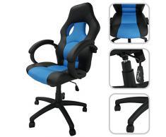 Sedia direzionale blu aggiustabile in similpelle e maglia aerata - Poltrona direzionale inclinabile