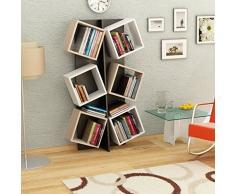 MARCELLA Libreria - Bianco / Nero / Sonoma - Scaffale per libri - Scaffale per ufficio / soggiorno dal design moderno