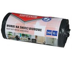 Office Products 22021252-05 - Sacchi per la spazzatura, 240 l, 10 pezzi, resistenti, in LDPE | Sacchetti per la spazzatura per lufficio | Colore: Nero | Spessore pellicola: 30 μm
